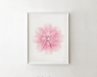Baby pink flower art, Printable Girls gift, Baby decor Flower artwork, Light Pink wall decor Girls print, Flower print DIGITAL Nursery print