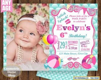 POOL PARTY Invitation, Pool Party Pool Bash Birthday Invitation Pink Birthday Invite Girl Swimming Photo Aqua Teal Pink Photograph DPMER15/5
