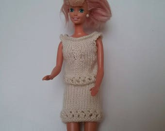 White set for Barbie doll cotton hand knitted wool