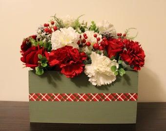 Red and Green Christmas  Centerpiece   Holiday Centerpiece   Burlap Centerpiece