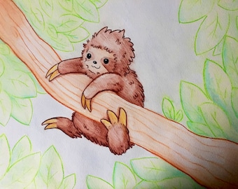 Sloth Watercolour Painting