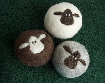 Felt Wool Dryer Balls Set of 3 sheep eco-friendly energy saving dryer balls, fiber art ornaments, housewarming gift, baby shower gift