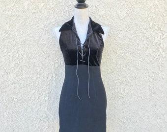 90s Black Collared Velvet Lace-Up Minidress S/M