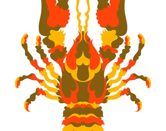 Lobster. Cross Stitch pattern, Digital Download PDF. Geometric lobster design with patches that make the body. Bright and Modern