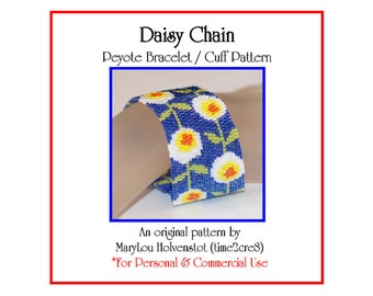 Peyote Bracelet Pattern ... DAISY CHAIN ... Flowers . Spring . Bonus Pattern . Modern . Simple . Pretty . Abstract . Colorful . 3 for 2