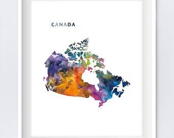 Canada Map, Canada Print, Canada Poster, Ottawa, Watercolor Art, Home Decor, Office Decor, Gift, Travel Map, Digital Download