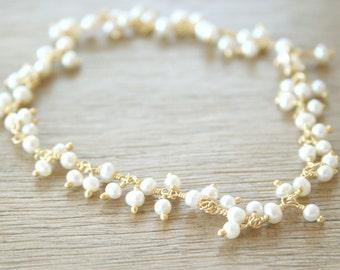 Snow Flurry - delicate white pretty pearl bracelet - Gold Filled