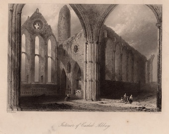 Antique engraving of Cashel Abbey, Rock of Cashel, County Tipperary, Ireland c.1841