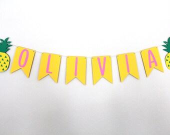 Custom Pineapple Banner - Personalized Pineapple Banner -  Pineapple Party Decor - Twotti Frutti Party Decor Banner - Tutti Frutti Decor