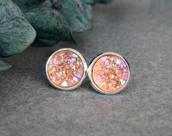 Orange Stud Earrings, Orange Earrings, Orange Druzy Earrings, Orange Post Earrings, Orange Druzy Studs, Orange Bridesmaid Earrings