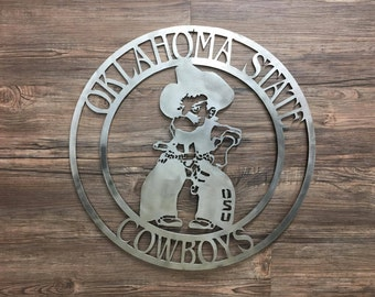Oklahoma State Cowboys Cirlce With Pistols Firing Pistol Pete (OSU,Home Decor, Football, Sports, Wall Art, Metal Art)
