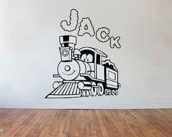 Steam EngineTrain With Personalised Name Vinyl Wall Art Sticker