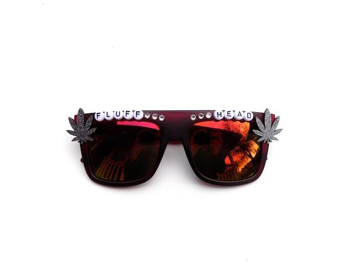 "Phish ""Fluffhead"" decorated Groovy Glasses, hand decorated novelty sunglasses with Phish lyrics and mini pot leaves"