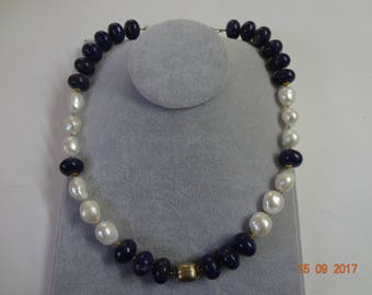 Lapis Lazuli necklace with Keishi pearls- FREE  SHIPPING