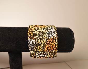 Crochet cotton cuff bracelet