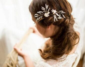Crystal hair pins, floral hair pins, wedding hair pins, gold hair pins, pearl hair pins, bridal hair pins, wedding hair accessories, II ADA