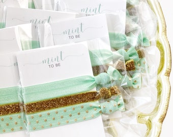 Mint to Be Bridal Shower Favors, Mint to Be Baby Shower Favors, Unique Bridal Shower Decorations Mint and Gold Bachelorette Hair Ties