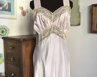 Vintage Nightgown, Full Length Slip Lingerie 1940s Lace Top Hollywood Glamour Style Boudoir