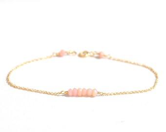 Pink Opal bracelet, October Birthstone Jewelry, October Birthday, Pink Opal Gold Bracelet, Gemstone bar bracelet, Minimalist,