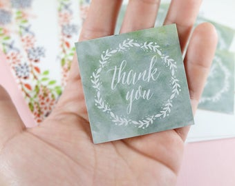 10 Stickers! Watercolor Floral Wreath Thank You Stickers, party favors, beautiful, bridal showers, baby shower, Set of 10