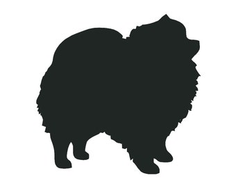 Pomeranian Dog Breed Silhouette Custom Die Cut Vinyl Decal Sticker - Choose your Color and Size