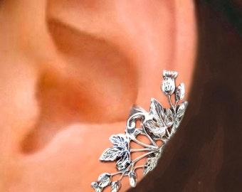 Scottish Thistle ear cuffs Sterling Silver earrings Thistle jewelry Thistle earrings Sterling silver ear cuff ear clip C-108180 CC