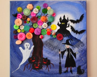 Ghosts, Ghouls and Witches.  Acrylics on canvas with embellishments and multicolour buttons.  12ins x 12ins. 3/4 inch deep.