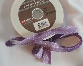 Plum cotton fabric with pink polka dots