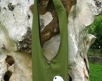 Princess Mononoke KODAMA Hip / Shoulder sling Bag Thai Cotton 9 green
