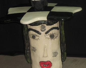 handmade ceramic face table