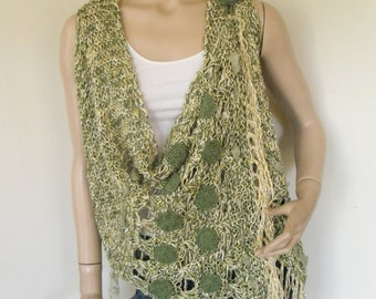 Green-yellow embroidered knitted vest.