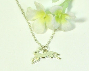 Bunny Necklace Teensy- Rabbit Pendant- Bunny Jewelry- Pet Bunny Rabbit- Rabbit Jewelry- Easter Gift- Woodland Animal- Nature Lover Gift