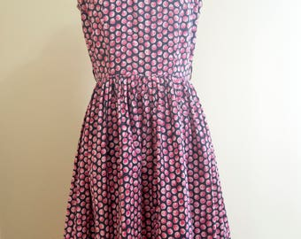 50s Berry Print Dress Size Medium