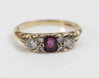 9ct Gold Diamond and Ruby Antique Ladies Ring   Size UK I US 4.50