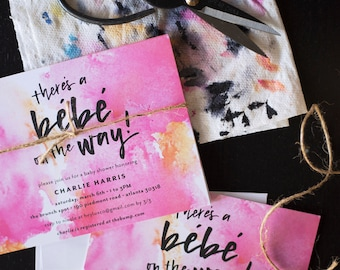 there's a bébé on the way!   customizable baby shower or sprinkle invitations