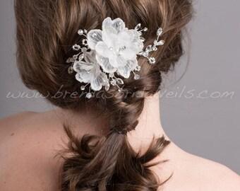 Bridal Flower Headpiece, Bridal Rhinestone Hair Comb, Wedding Flower Hair Comb - Rosemary