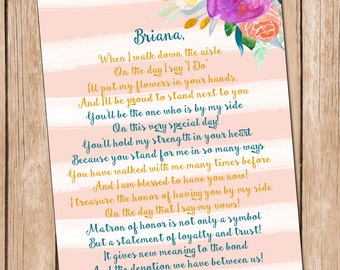 Will You Be My Matron of Honor Card **DIGITAL FILE**, Sister Card, Bridesmaid Card **Digital File**