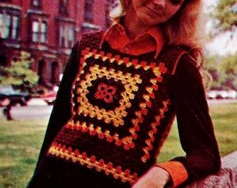 Classic Granny Vest Vintage Crochet Pattern Instant Download
