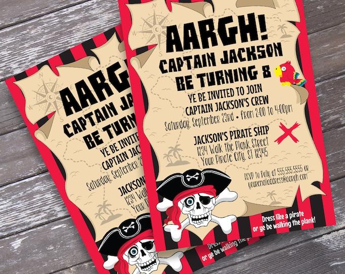 Pirate Invitation - Pirate Birthday Party, Pirate Invite, Invitation with Editable Text | DIY INSTANT Download PDF Printable