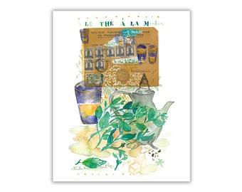 Fresh Mint tea print, Peppermint tea poster, Watercolor painting, Middle East Home decor, Kitchen wall art, Tea artwork, Tea illustration