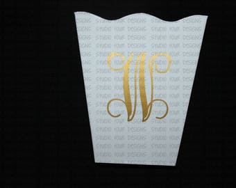 Dorm Room Decor - Personalized - Monogrammed Scalloped Trash Can/Waste Can - Create with your color scheme to match your decor