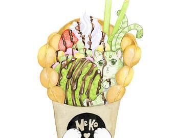 Hong Kong Egg Waffle Nekomata - giclee print - kawaii art, matcha ice cream, Chinese food, Japanese art, yokai spirit, cat art, street food