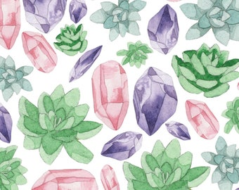 "Succulove Watercolor Gemstone Succulent 8""x10"" Fine Art Print"