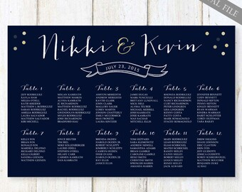 Navy Wedding Seating Chart - Blue Yellow Gray Navy Red Table Seating chart - DIGITAL file!