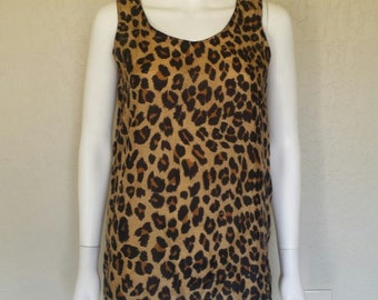 90s cheetah leopard print silk sleeveless top  Sz small- med / loose fit