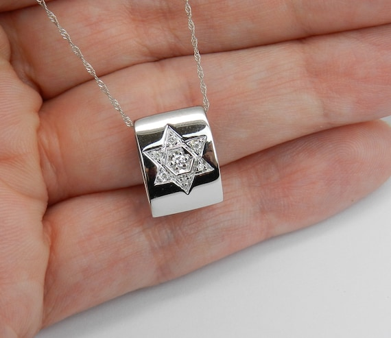 "Diamond Star of David Pendant Necklace 14K White Gold 17"" Chain Jewish Religious Charm"