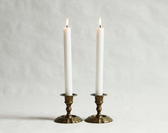 Vintage, Pair of Matching Solid Brass Candlestick Holders