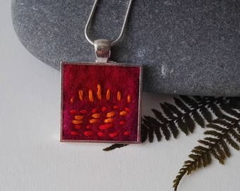 Square Red Felt Pendant with Golden Yellow and Red Hand Stitched Detail