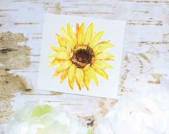 Sunflower Watercolor Decal, Sunflower Decal, Watercolor Flowers, Tumbler Decal, Printed Decal
