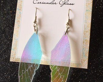 Fairy Wing Earrings Laser Cut & Engraved Holographic Acrylic Laser Cut Jewellery Gifts For Her